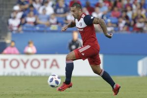 Aug 4, 2018; Frisco, TX, USA; FC Dallas defender Moises Hernadez (6) controls the ball in the first half against the San Jose Earthquakes at Toyota Stadium. Mandatory Credit: Tim Heitman-USA TODAY Sports